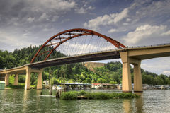 Sauvie Island Bridge. Over Willamette River Portland Oregon Stock Photography