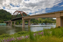 Sauvie Island Bridge over Multnomah Channel Royalty Free Stock Images