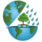 Sauvons la planète ! Un monde vert sur un concept écologique illustration de vecteur
