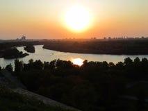 Sava和多瑙河,贝尔格莱德,塞尔维亚的合流 库存图片
