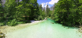 Sava Bohinjka river in Julian Alps, Slovenia Royalty Free Stock Photos
