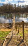 Landscape at Muzilovcica in Central Croatia. The Sava River as it flows through the small village of Muzilovcica in Sisak-Moslavina County in central Croatia royalty free stock images