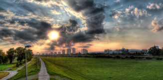Sava river bank under dramatic sky Stock Photography
