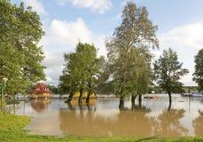 Sava River flood. Big flood at Sava river in New Belgrade Royalty Free Stock Images