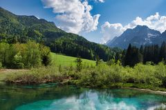 The Sava River source in Slovenia stock images