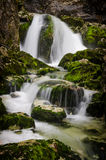 Sava water fall with stones, Bohinj, Slovenia Royalty Free Stock Photos