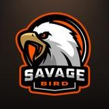 Savage bird. Eagle sports logo. Savage bird. Eagle sports logo on a dark background Royalty Free Stock Image