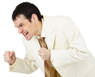 Savage businessman emotionally clenched fists Royalty Free Stock Photos