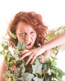 Savage girl snarling Royalty Free Stock Image