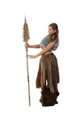 Savage girl with a spear stock photography