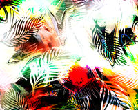 Savage jungle. Exotic colorful amazonic savage jungle print with rainbow tye-dye and color shading Stock Images