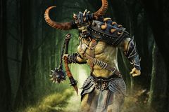 Savage Orc Brute running into battle. Wearing traditional armor and equipped with a flail weapon . Fantasy themed character. 3d Rendering vector illustration