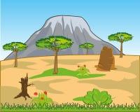 Savana e alta montagna africane sull'orizzonte illustrazione vettoriale