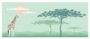 Savana horizontal do elefante da silhueta da bandeira, desenhos animados da ilustração do vetor ilustração stock