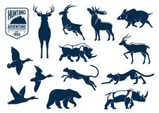 Savanna and forest animals for hunting icons Royalty Free Stock Photography