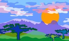 Savanna landscape. Vector illustration. Stock Photos