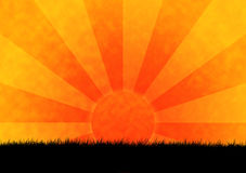 Savanna sunset. Colorful sunset with grass silhouette in the foreground royalty free illustration