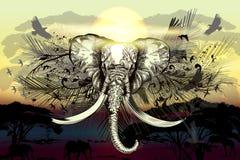 Savanna vector elephant with other silhouettes animals. Giraffe, eagles vector illustration