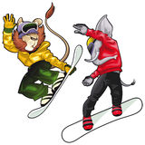 Savannah animals on snowboard. Vector isolated characters Stock Photography