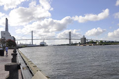 Savannah Augusti 8th: Talmadge Memorial Bridge från Savannah i Georgia USA Royaltyfri Bild