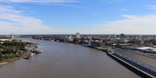 Savannah. GA, USA - November 24, 2015: A panoramic view of  and the  River.  is a city in southeastern Georgia stock photo