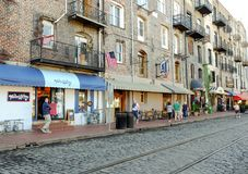 Savannah, Georgia bars and restaurants on River Street. Royalty Free Stock Image