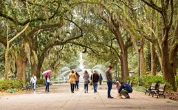 People in Forsyth Park stock photography