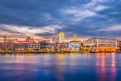 Savannah, Georgia, USA River Skyline stock images