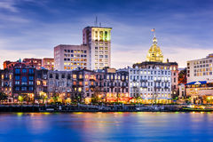 Savannah, Georgia, USA. Downtown riverfront skyline Stock Image