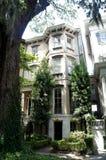 Savannah, Georgia, USA historic district house and oak trees. Royalty Free Stock Photos