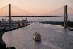 Savannah River bij zonsondergang Stock Foto