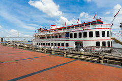 Savannah River Boat. Savannah, GA USA - April 25, 2016: River boat docked along the Savannah River in the Riverwalk Plaza area Stock Photography