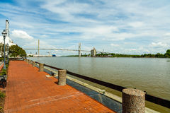 Savannah River. In Georgia with the Talmadge Memorial Bridge Royalty Free Stock Image
