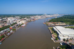 Savannah River Riverfront historic district. Aerial image Savannah River Riverfront historic district Stock Image