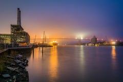 The Savannah River and Talmadge Memorial Bridge at night, in Savannah, Georgia stock photos