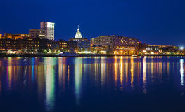 Savannah Riverfront at Dusk Stock Photos