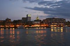 Savannah riverfront twilight. Savannah riverfront at twilight showing lighted buildings stock photos