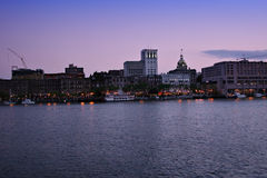 Savannah riverfront twilight stock photography