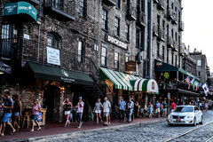 Savannah's famous River Street royalty free stock image