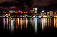 Savannah Skyline at Night. The lights of downtown Savannah are bright from across the Savannah river stock images