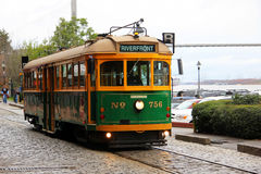 Savannah Trolley Car stock image