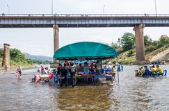River restaurant. SAVANNAKHET,LAOS-APRIL 16,2018 :Mobile restaurant ready for tourist in the river  to celebrate  Songkran festival in Savannakhet,Laos on April Stock Photos