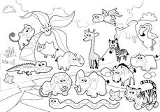 Savanne dierlijke familie met achtergrond in zwart-wit. Royalty-vrije Stock Afbeelding