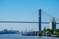 Savannen-Fluss-Hängebrücke stockfotografie