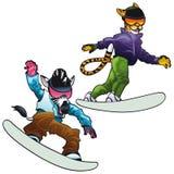 Savannetiere auf Snowboard. Lizenzfreie Stockbilder
