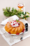 Savarin with fruits. On holiday Stock Photos