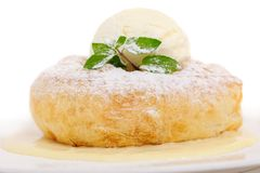 Savarin with ice cream Royalty Free Stock Images