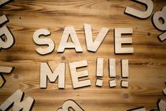 SAVE ΕΓΏ λέξεις που γίνονται με τις δομικές μονάδες που βρίσκονται στον ξύλινο πίνακα στοκ φωτογραφία με δικαίωμα ελεύθερης χρήσης