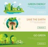 Save świat i zielenieje energetycznego pojęcie sieci sztandar royalty ilustracja