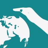 Save Światowego wektorowego symbol uratować ziemię brązowić dzień zakrywającą ziemię środowiskowy ulistnienie idzie zielony idzie Fotografia Stock